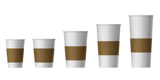 Blank disposable cup with heat proof paper, Extra, Small, Medium, Large Stock Photography