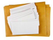 Blank DL white and A4 envelopes, isolated mailshot Royalty Free Stock Images