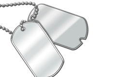 Blank dog tags on a white background Stock Photography