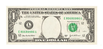 Blank 1 dollar. Banknote isolated Stock Photography