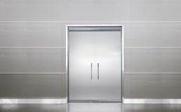 Blank door in a empty room. White blank door in empty room, clean floor without nobody else Stock Photography