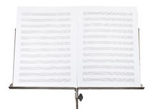 Blank double pages of music book on stand close up Royalty Free Stock Photography