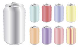 Blank drink can in differents colors Stock Photos