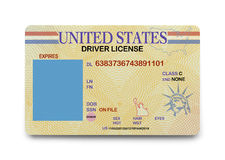 Blank Driver License. US Driver License with Copy Space Isolated on White Background