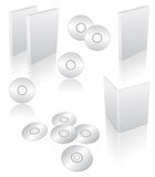 Blank dvd cases. 3d blank dvd, cd, blu-ray cases and boxes Stock Photo