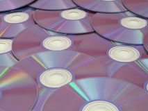 Blank DVD Discs Displayed with the Reflective Side Up. Blank DVDs are on display with the reflective side facing up Stock Photos