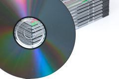A blank dvd empty cases. A blank dvd or cd with stack of empty cd cases on background royalty free stock image