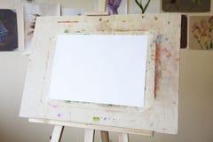 Blank Easel in the Art Studio. Art Studio, Artist's Canvas, Art Class Royalty Free Stock Photos