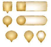 Blank Elegant Golden Vector Web Buttons Pins and Sliders Royalty Free Stock Photography