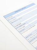 Blank employment application Royalty Free Stock Images