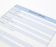 Blank employment application Stock Image