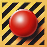 Blank or empty button. In red over a yellow and black striped background Stock Photo