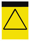 Blank empty customizable yellow black triangle general caution warning attention sign label, large detailed isolated vertical Royalty Free Stock Photo