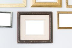 Blank empty frames on white background. Art gallery, museum exhibition white clipping path stock photography