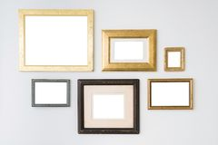 Blank empty frames on white background. Art gallery, museum exhibition white clipping path royalty free stock photography