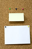 Blank empty memo notes on corkboard Stock Photo