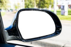 Blank empty screen Rearview car Mirror. Blank rear view mirror with a clipping path. Empty space for text or design. Empty copy sp royalty free stock images