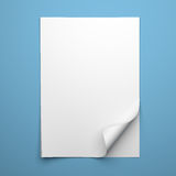 Blank empty sheet of white paper with curled corner Stock Photos