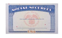Blank USA social security card isolated against white background. Blank and empty unfilled USA social security card isolated against a white background