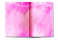 Blank / empty Valentine's day magazine spread. Blank / empty magazine spread isolated on white background. Old paper with grunge texture in romantic colors. It's Stock Image