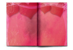 Blank / empty Valentine's day red magazine spread. Blank / empty magazine spread isolated on white background. Old paper with grunge texture and many big red Royalty Free Stock Photography