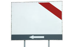 Blank empty white billboard copy space red grey bar and arrow, large detailed isolated background closeup Stock Photo