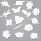Blank empty white speech bubbles paper collection set with vario Stock Photography