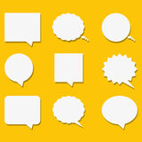 Blank empty white speech bubbles with shadows in flat style. Vector illustration. Stock Photo