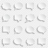 Blank empty white speech bubbles on transparent background. Abstract white speech bubbles set on transparent background, paper art style, vector illustration Stock Image