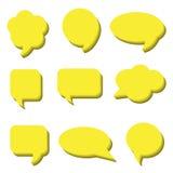 Blank empty white speech bubbles. Volumetric Stickers of speech bubbles vector set Stock Photo