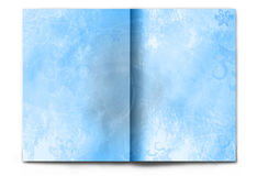 Blank / empty winter magazine spread on white. Blank / empty magazine spread isolated on white background. Light blue winter theme for Christmas or Happy New royalty free stock image