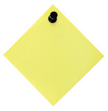 Blank Empty Yellow Reminder List And Black Pushpin Thumbtack, Isolated Post-It Style Sticky Note Sticker, Macro Closeup Copy Space Royalty Free Stock Photography