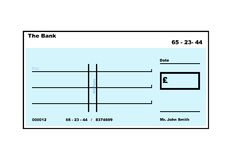Blank English Cheque Stock Photo