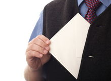 Blank envelop in a hand Royalty Free Stock Photos