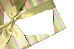 Blank envelope on the gift box Royalty Free Stock Photos