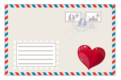 Blank envelope with heart and brands ready to ship Royalty Free Stock Photography