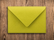 Blank envelope on old table, clipping path. stock photo