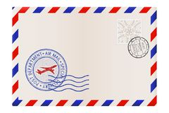 Blank envelope with stamp and air mail postmark vector illustration