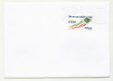 Blank envelope with stamp from Italy Stock Photo