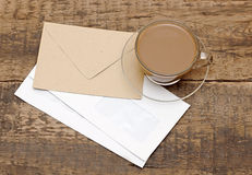 Blank Envelopes And A Glass Coffee Cup Royalty Free Stock Photo