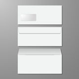 Blank envelopes. Opened and closed, with soft shadows, on gray b Royalty Free Stock Photography