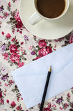 Blank envelopes on the table with pencil and coffee Royalty Free Stock Photo