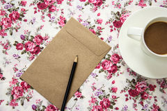 Blank envelopes on the table with pencil and coffee Royalty Free Stock Images
