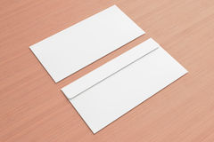 Blank envelopes on wooden background Stock Photography