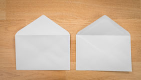 Blank envelopes on a wooden dark Royalty Free Stock Images
