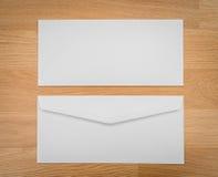 Blank envelopes on a wooden dark Stock Photo
