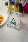 Blank event Guest Card on restaurant table at the banquet Stock Images