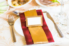 Blank event Guest Card on restaurant table close-up Stock Photography