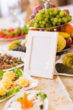 Blank event Guest Card on restaurant table close-up Stock Images