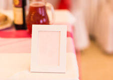 Blank event Guest Card on restaurant table close-up Stock Photos
